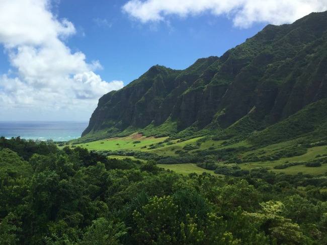 A deep lush green valley flows through tall mountains covered in vegetation to the ocean.