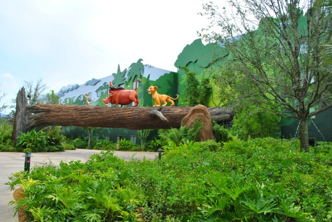 Disney Art Of Animation Resort Oversized Models Of Simba Timon And Pumba From The Lion King In Amongst Lots Of Greenery